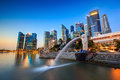 The Merlion fountain Singapore skyline. Royalty Free Stock Photo