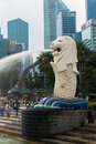 Merlion a mascot and national personification of singapore january view statue on january in mythical creature with head lion body Royalty Free Stock Photography