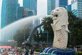 Merlion a mascot and national personification of singapore january view statue on january in mythical creature with head lion body Stock Photography