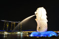 The merlion mbs singapore taken at night Stock Photo