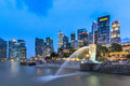 Merlion singapore jun the fountain and skyline on june is an imaginary creature with head of a lion and the body Royalty Free Stock Image