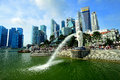 Merlion and Singapore skyline Royalty Free Stock Images