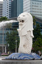 Merlion Statuebrunnen in Singapur Lizenzfreie Stockfotos