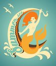 Mermaid with banner illustration in retro style beautiful ribbon Stock Image