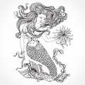 Mermaid with beautiful hair and marine plants. Tattoo art. Retro banner, invitation,card, scrap booking. t-shirt, bag, postcard, p Royalty Free Stock Photo