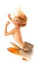 mermaid beautiful magic mythology being original photo compilation isolated on white