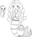 Mermaid coloring page and her cute pet sea horse Royalty Free Stock Image