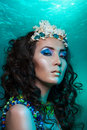 Mermaid with crown of corals Stock Photo