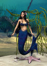 Mermaid d digital render of a cute on blue fantasy ocean background Royalty Free Stock Image