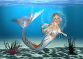Mermaid d digital render of a cute on blue fantasy ocean background Stock Images