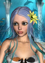 Mermaid d digital render of a cute with blue and green hair and yellow waterlily on blue fantasy ocean background Royalty Free Stock Images