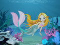 Mermaid and dolphin background cute swimming with Royalty Free Stock Image