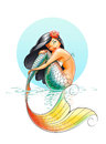 Mermaid fairy tale character illustration on white background Royalty Free Stock Images