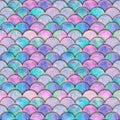 Mermaid fish scale wave japanese seamless pattern Royalty Free Stock Photo