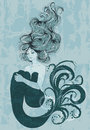 Mermaid floating in water illustration of beautiful with long hair Stock Image