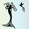 Mermaid and hummingbird with wave pattern behind Royalty Free Stock Photos