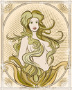 The mermaid illustration with young pretty against half tone background decorated by ropes frame drawn in vintage style Royalty Free Stock Photo