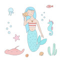 Mermaid listens to music from the shell