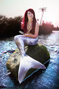 Mermaid On Paradise Island Royalty Free Stock Photography