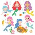 Mermaid Princess Vector Set Royalty Free Stock Photo