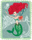 Mermaid sea cute card with a beautiful Stock Image