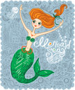 Mermaid sea cute card with a little Royalty Free Stock Photo