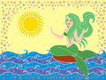 Mermaid on the sea waves as a mythical girl in warm season hand drawing vector illustration Royalty Free Stock Image