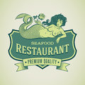 Mermaid seafood restautant label retro styled restaurant including an image of editable vector Stock Images