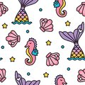 Mermaid and seahorse pastel rainbow color cute seamless pattern