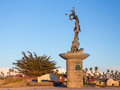 Mermaid statue entrance Ventura harbor Royalty Free Stock Images