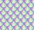 Mermaid tail scales vector seamless pattern. Holographic bright fish texture