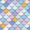 Mermaid tail seamless pattern with gold glitter elements. Colorful fish skin background. Trendy pastel pink and purple colors. For