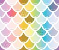 Mermaid tail seamless pattern with gold glitter elements. Trendy scale background. Multicolored. Royalty Free Stock Photo