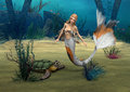 Mermaid und turtle d digital render of a cute and a on blue fantasy ocean background Royalty Free Stock Photography