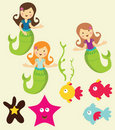 Mermaid under the sea graphics Stock Images