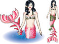 Mermaid in the water and isolated figure colored pink and red Royalty Free Stock Photography