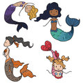 Mermaids collection of cute cartoon Stock Photo