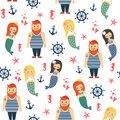 Mermaids girls with sailor, anchor, starfish seamless pattern on white background.