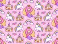 stock image of  Mermaids, magic unicorns, rainbow, castle. Seamless pattern on a blue background.