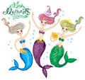Mermaids three cute funny Royalty Free Stock Photos