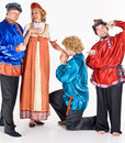 Merry actors in costume Stock Photo