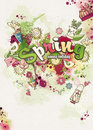 Merry background on a spring theme created from watercolor and colored blots doodles Royalty Free Stock Photo
