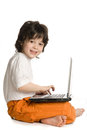 The merry boy with laptop Royalty Free Stock Photo