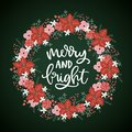 Merry and Bright Christmas hand lettered greeting card, invitation. Advent wreath made of holly berries, fir tree Royalty Free Stock Photo