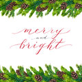 Merry and Bright text on watercolor christmas border