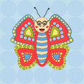 Merry butterfly glasses on seamless background cheerful character Royalty Free Stock Image