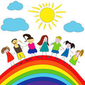 Merry children and rainbow, happy life Stock Photos