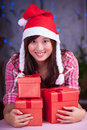 Merry chrismas young asian girl with present box Royalty Free Stock Photography