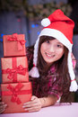 Merry chrismas young asian girl with present box Royalty Free Stock Images