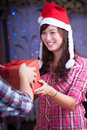 Merry chrismas young asian girl with present box Royalty Free Stock Image